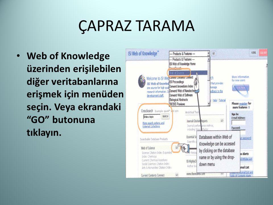 """ÇAPRAZ TARAMA Web of Knowledge üzerinden erişilebilen diğer veritabanlarına erişmek için menüden seçin. Veya ekrandaki """"GO"""" butonuna tıklayın."""