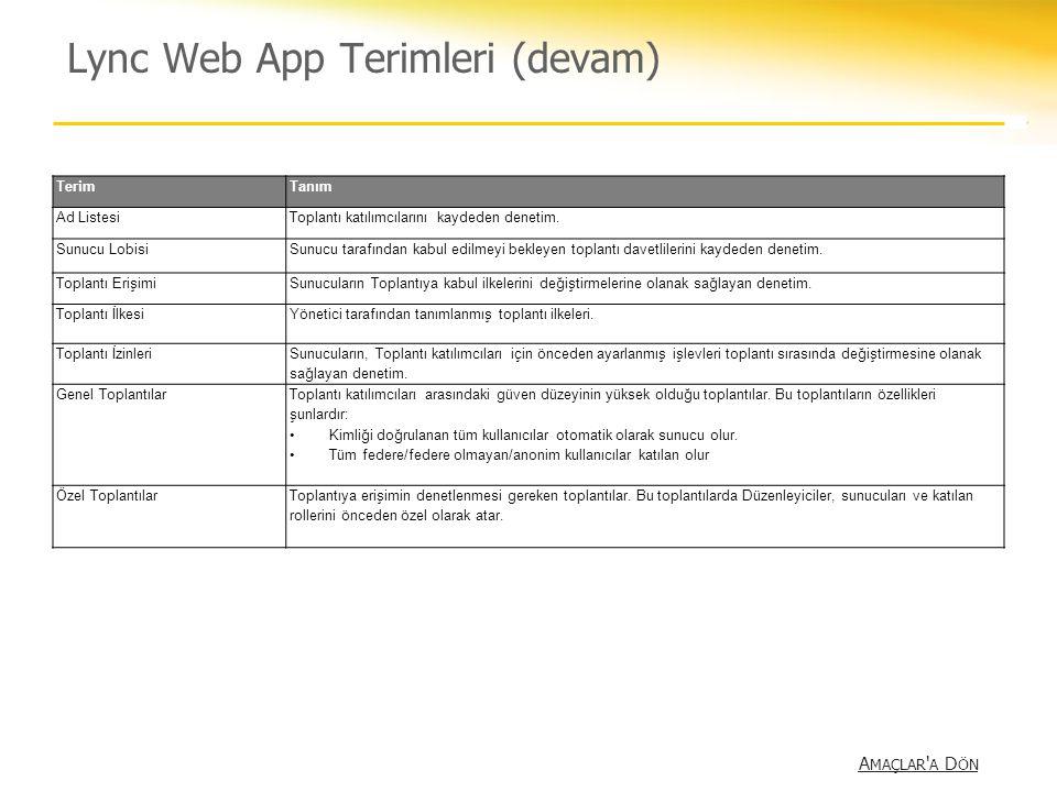 Lync Web App Terimleri (devam) A MAÇLAR ' A D ÖN A MAÇLAR ' A D ÖN TerimTanım Ad ListesiToplantı katılımcılarını kaydeden denetim. Sunucu LobisiSunucu