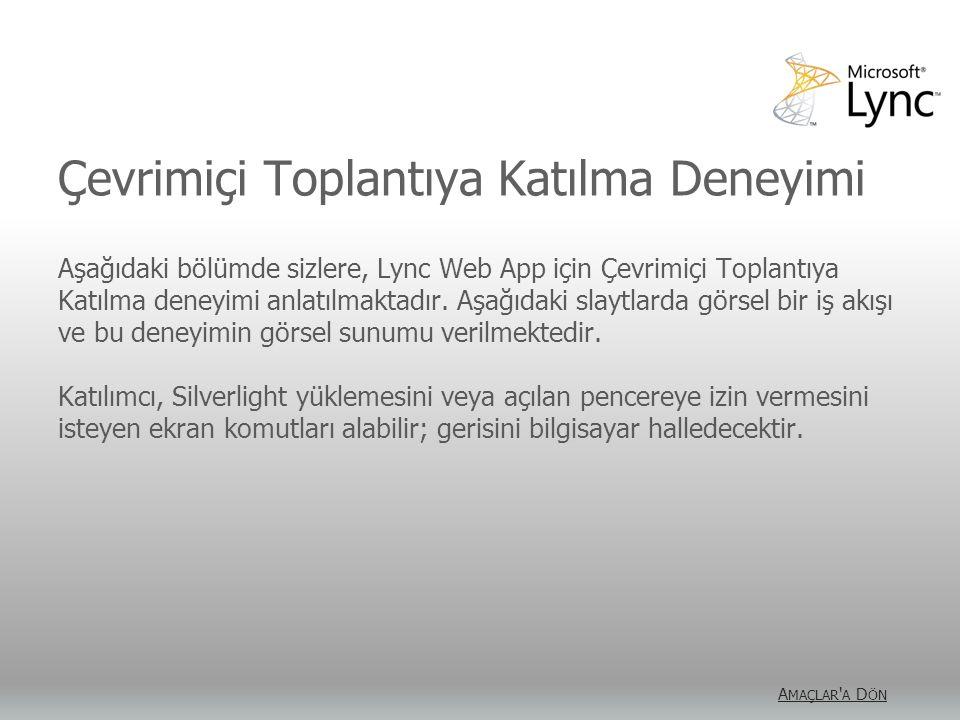 Çevrimiçi Toplantıya Katılma Deneyimi Aşağıdaki bölümde sizlere, Lync Web App için Çevrimiçi Toplantıya Katılma deneyimi anlatılmaktadır. Aşağıdaki sl