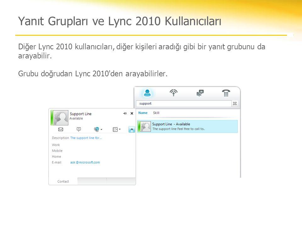 Yanıt Grupları ve Lync 2010 Kullanıcıları Diğer Lync 2010 kullanıcıları, diğer kişileri aradığı gibi bir yanıt grubunu da arayabilir. Grubu doğrudan L