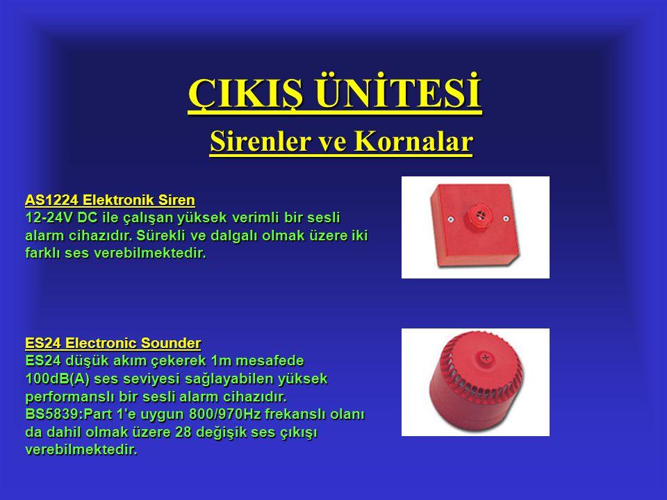 ÇIKIŞ ÜNİTESİ Sirenler ve Kornalar AS1224 Elektronik Siren 12-24V DC ile çalışan yüksek verimli bir sesli alarm cihazıdır. Sürekli ve dalgalı olmak üz