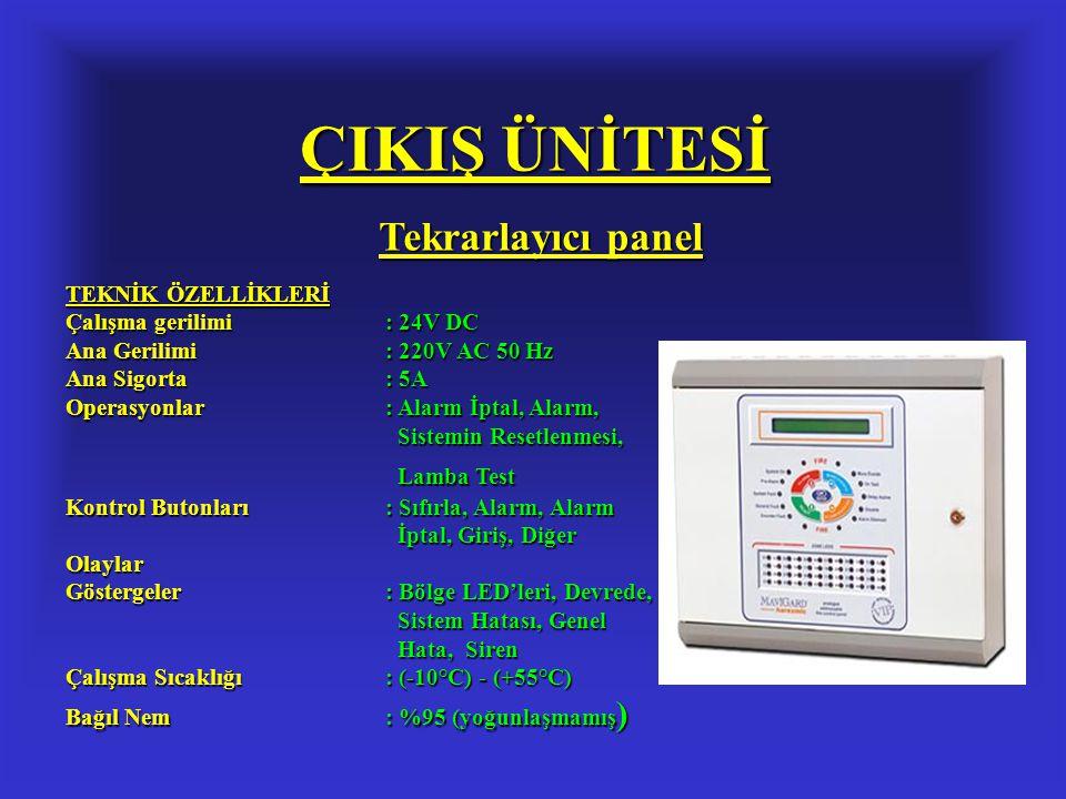 ÇIKIŞ ÜNİTESİ Tekrarlayıcı panel TEKNİK ÖZELLİKLERİ Çalışma gerilimi: 24V DC Ana Gerilimi: 220V AC 50 Hz Ana Sigorta: 5A Operasyonlar: Alarm İptal, Al