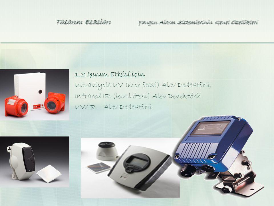 Tasarım Esasları Yangın Alarm Sistemlerinin Genel Özellikleri 1.3 I ş ınım Etkisi için Ultraviyole UV (mor ötesi) Alev Dedektörü, Infrared IR (kızıl ötesi) Alev Dedektörü UV/IR Alev Dedektörü
