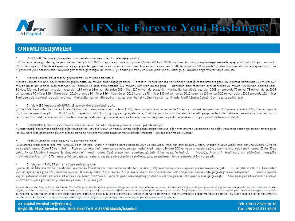 ÖNEMLİ GELİŞMELER Bu raporda yer alan bilgi ve fikirler A1 Capital Menkul Değerler A.Ş.