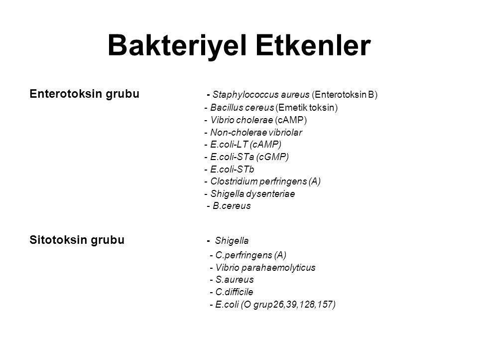 Bakteriyel Etkenler Enterotoksin grubu - Staphylococcus aureus (Enterotoksin B) - Bacillus cereus (Emetik toksin) - Vibrio cholerae (cAMP) - Non-chole