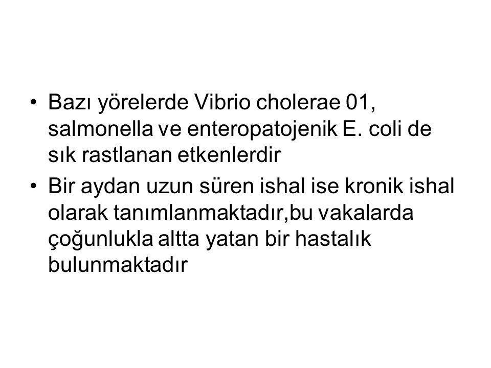 Bazı yörelerde Vibrio cholerae 01, salmonella ve enteropatojenik E. coli de sık rastlanan etkenlerdir Bir aydan uzun süren ishal ise kronik ishal olar