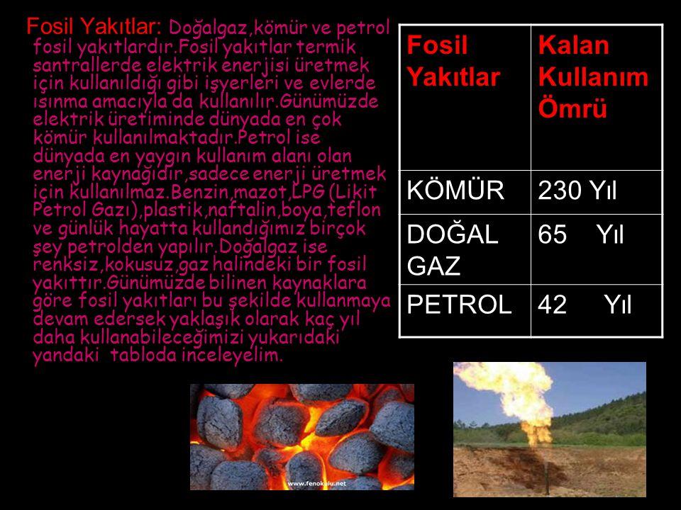 Fosil Yakıtlar: Doğalgaz,kömür ve petrol fosil yakıtlardır.Fosil yakıtlar termik santrallerde elektrik enerjisi üretmek için kullanıldığı gibi işyerle