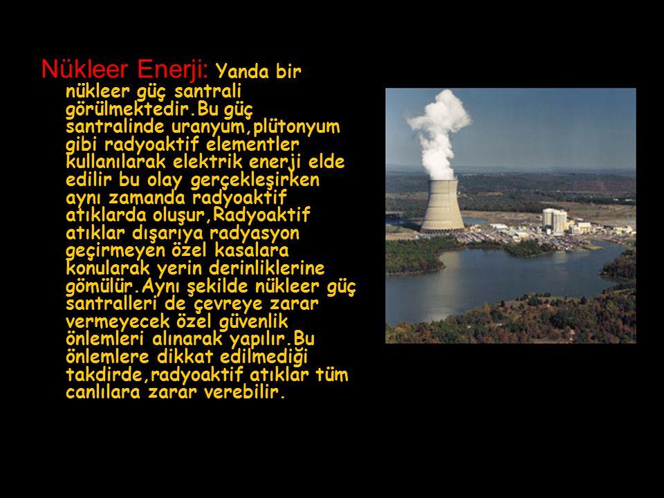 Nükleer Enerji: Yanda bir nükleer güç santrali görülmektedir.Bu güç santralinde uranyum,plütonyum gibi radyoaktif elementler kullanılarak elektrik ene
