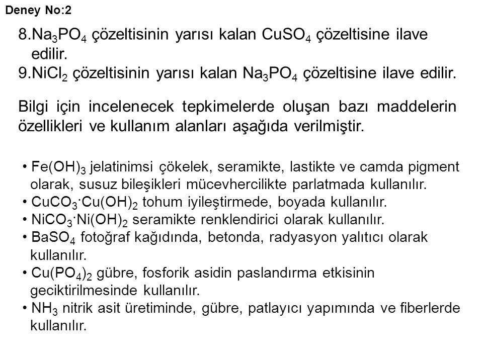 8.Na 3 PO 4 çözeltisinin yarısı kalan CuSO 4 çözeltisine ilave edilir. 9.NiCl 2 çözeltisinin yarısı kalan Na 3 PO 4 çözeltisine ilave edilir. Deney No