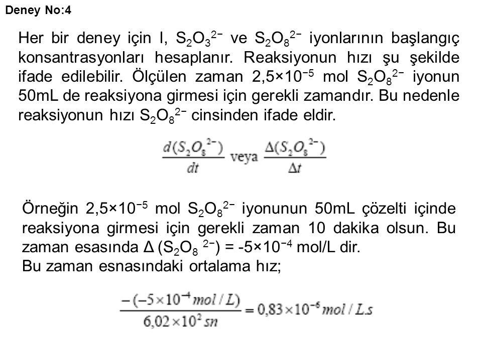 Her bir deney için I, S 2 O 3 2− ve S 2 O 8 2− iyonlarının başlangıç konsantrasyonları hesaplanır. Reaksiyonun hızı şu şekilde ifade edilebilir. Ölçül