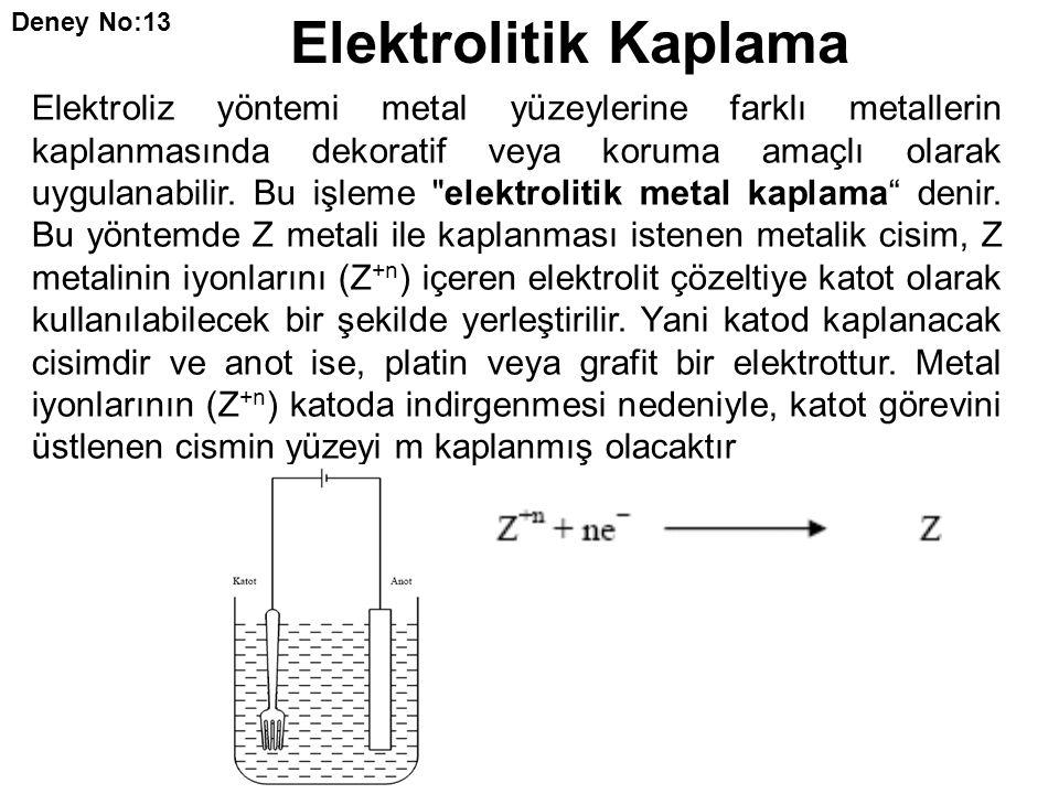 Elektroliz yöntemi metal yüzeylerine farklı metallerin kaplanmasında dekoratif veya koruma amaçlı olarak uygulanabilir. Bu işleme