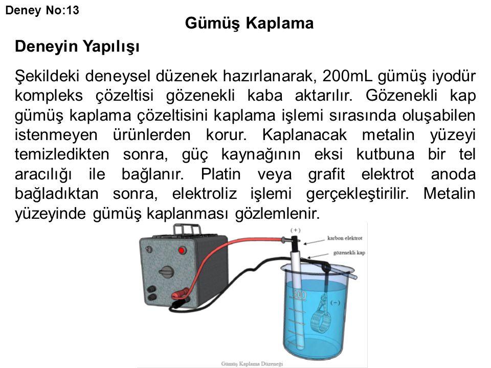 Deney No:13 Gümüş Kaplama Deneyin Yapılışı Şekildeki deneysel düzenek hazırlanarak, 200mL gümüş iyodür kompleks çözeltisi gözenekli kaba aktarılır. Gö