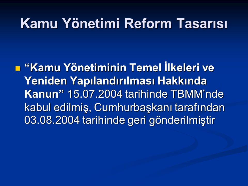 """Kamu Yönetimi Reform Tasarısı """"Kamu Yönetiminin Temel İlkeleri ve Yeniden Yapılandırılması Hakkında Kanun"""" 15.07.2004 tarihinde TBMM'nde kabul edilmiş"""