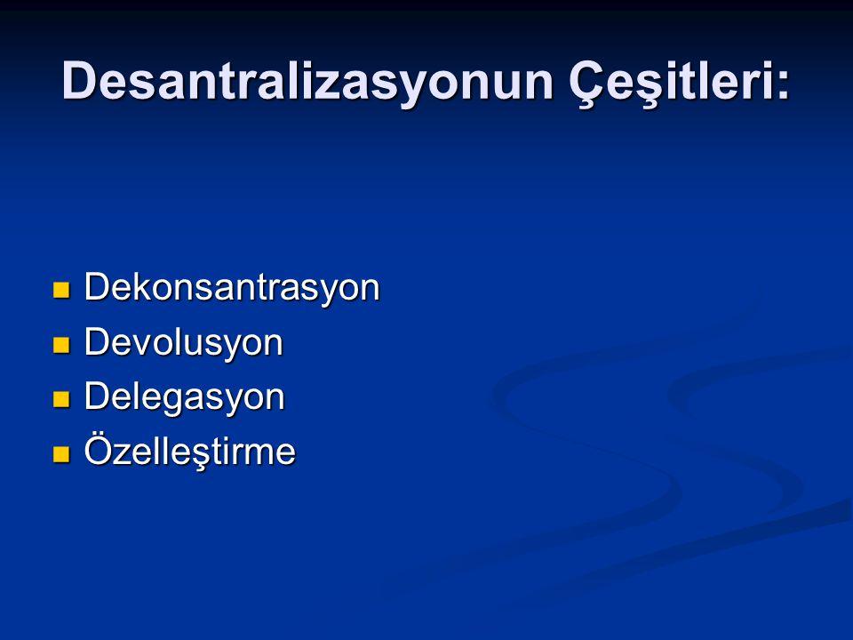 Desantralizasyonun Çeşitleri: Dekonsantrasyon Dekonsantrasyon Devolusyon Devolusyon Delegasyon Delegasyon Özelleştirme Özelleştirme
