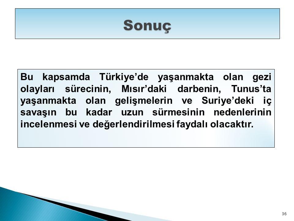 Bu kapsamda Türkiye'de yaşanmakta olan gezi olayları sürecinin, Mısır'daki darbenin, Tunus'ta yaşanmakta olan gelişmelerin ve Suriye'deki iç savaşın b