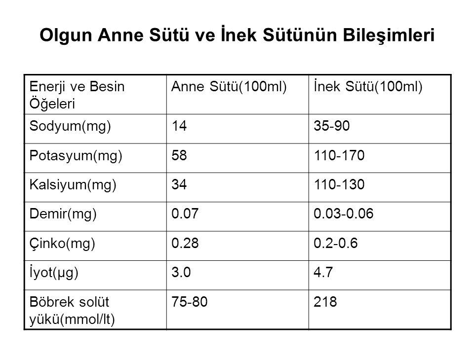 Anne Sütünün Enerji ve Besin Öğeleri Düzeyini Etkileyen Faktörler Annenin beslenme durumu ve vücut depolarının (Fe eksikliği anemisi,Ca eksikliğine bağlı osteoporoz gibi) yeterli olması, Annenin yaşının doğum ve emzirme için gerekli maturasyonda olması (18 yaş altı ve 35 yaş üstü olmamalı) Emzirme süresi ve emzirme zamanı Gestasyonel yaş (zamanında veya prematüre doğum) Annenin laktasyon döneminde tekrar gebe kalması Metabolik hastalıklar İlaç kullanımı Mevsimlere göre beslenme alışkanlıkları Kişisel farklılıklar