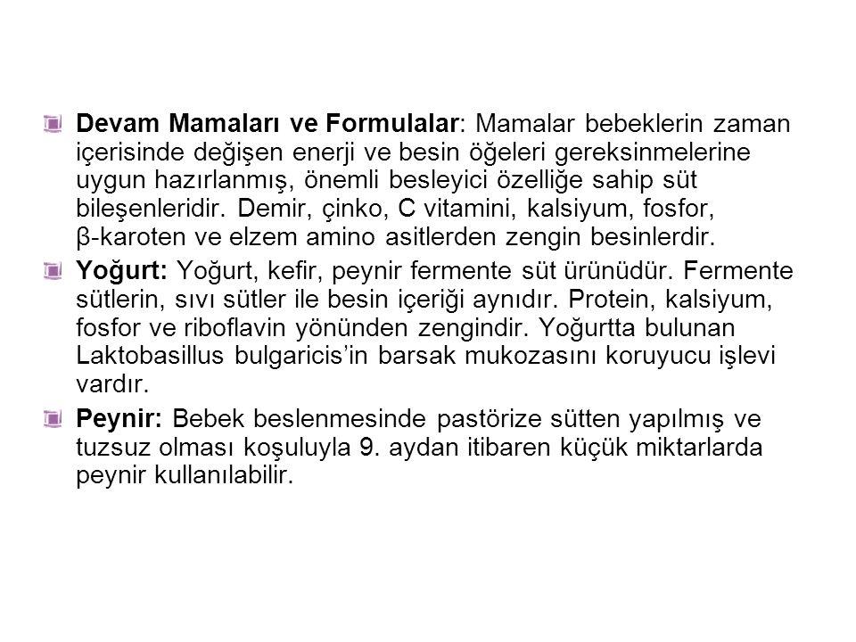 Et: Biyolojik değeri yüksek protein ve biyoyararlılığı yüksek demir, çinko gibi minerallerle, B6, B12 vitaminlerini içerir.