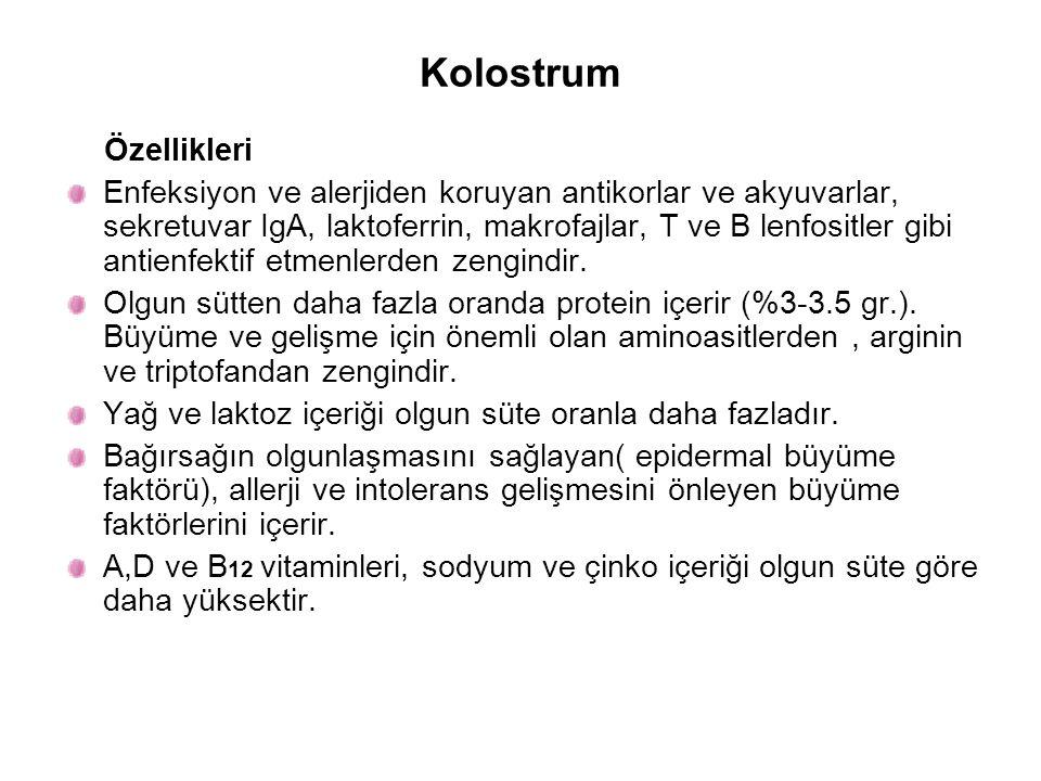 Olgun Anne Sütü ve İnek Sütünün Bileşimleri Enerji ve Besin Öğeleri Anne Sütü(100ml) İnek Sütü(100 ml) Enerji(kkal)6961 Protein(gr)1.33.3 Laktoz(gr.)7.24.7 Yağ(gr.)4.13.0 Protein(%)7.020.0 Laktoz(%)42.030.0 Yağ(%)51.050.0
