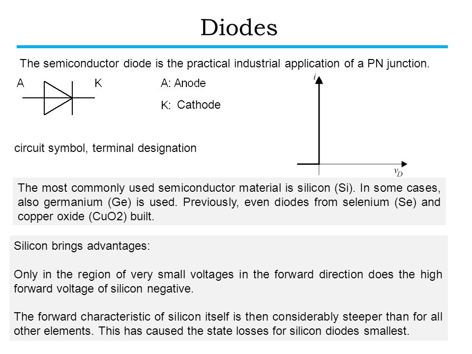 Diodes circuit symbol, terminal designation The most commonly used semiconductor material is silicon (Si).