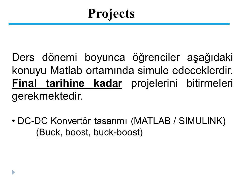 Projects Ders dönemi boyunca öğrenciler aşağıdaki konuyu Matlab ortamında simule edeceklerdir. Final tarihine kadar projelerini bitirmeleri gerekmekte
