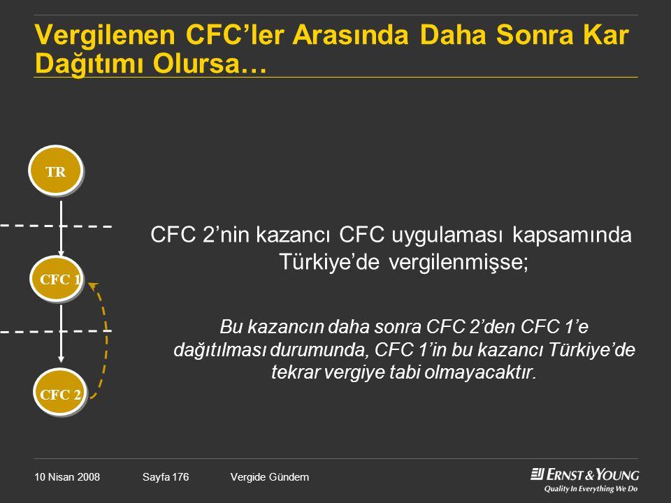 10 Nisan 2008Vergide GündemSayfa 176 Vergilenen CFC'ler Arasında Daha Sonra Kar Dağıtımı Olursa… CFC 1 CFC 2 TR CFC 2'nin kazancı CFC uygulaması kapsa