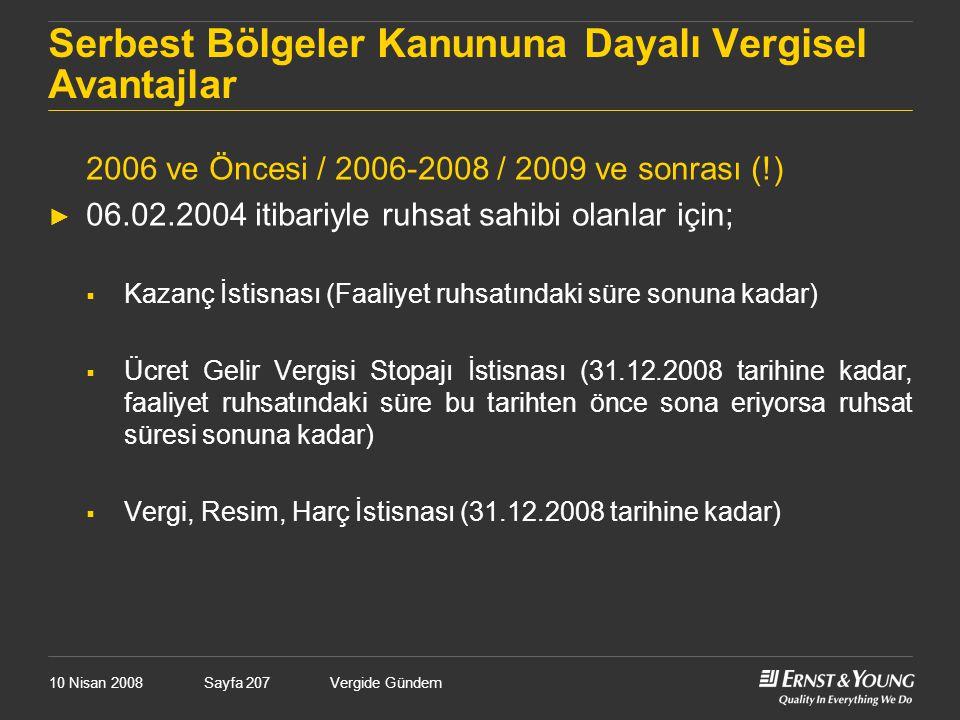 10 Nisan 2008Vergide GündemSayfa 207 Serbest Bölgeler Kanununa Dayalı Vergisel Avantajlar 2006 ve Öncesi / 2006-2008 / 2009 ve sonrası (!) ► 06.02.200