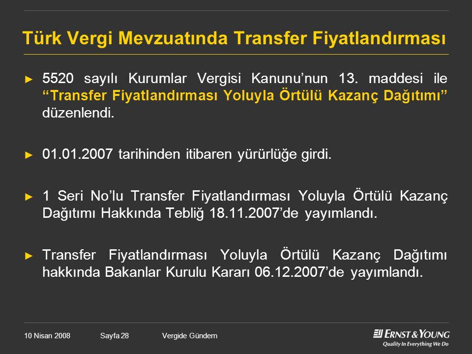 """Vergide GündemSayfa 28 Türk Vergi Mevzuatında Transfer Fiyatlandırması ► 5520 sayılı Kurumlar Vergisi Kanunu'nun 13. maddesi ile """"Transfer Fiyatlandır"""