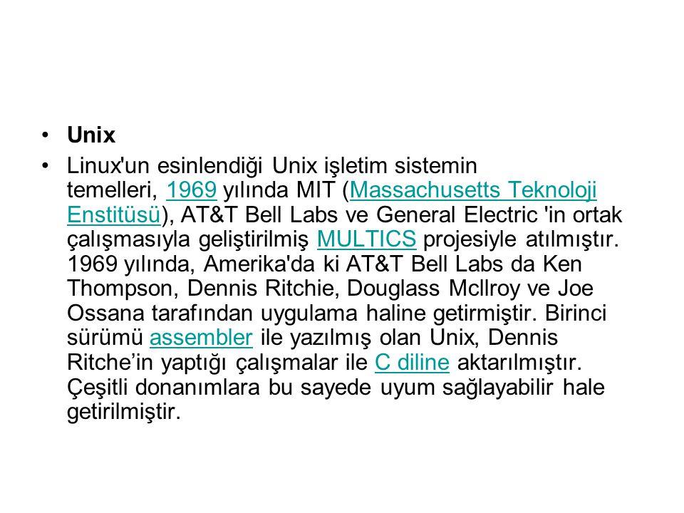 Unix linux un esinlendiği unix işletim sistemin temelleri 1969