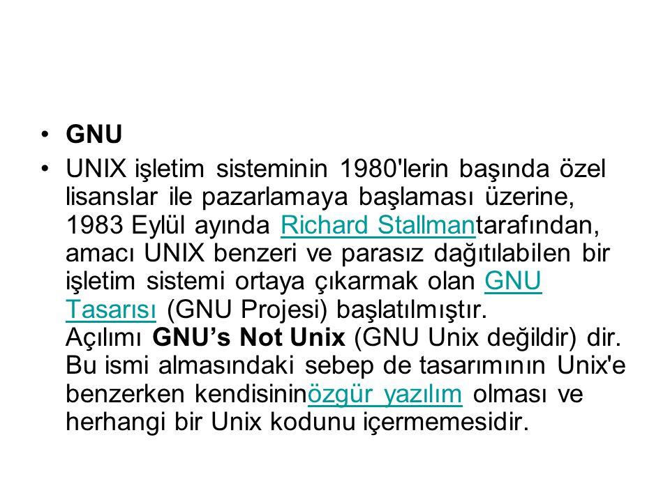 GNU UNIX işletim sisteminin 1980 lerin başında özel lisanslar ile pazarlamaya başlaması üzerine, 1983 Eylül ayında Richard Stallmantarafından, amacı UNIX benzeri ve parasız dağıtılabilen bir işletim sistemi ortaya çıkarmak olan GNU Tasarısı (GNU Projesi) başlatılmıştır.