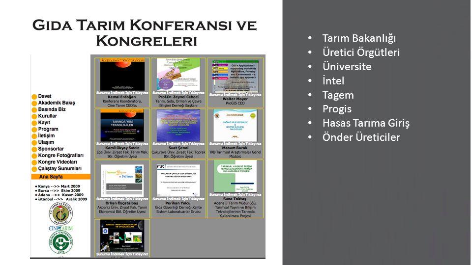 Tarım Bakanlığı Üretici Örgütleri Üniversite İntel Tagem Progis Hasas Tarıma Giriş Önder Üreticiler