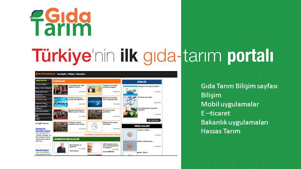 Gıda Tarım Bilişim sayfası Bilişim Mobil uygulamalar E –ticaret Bakanlık uygulamaları Hassas Tarım