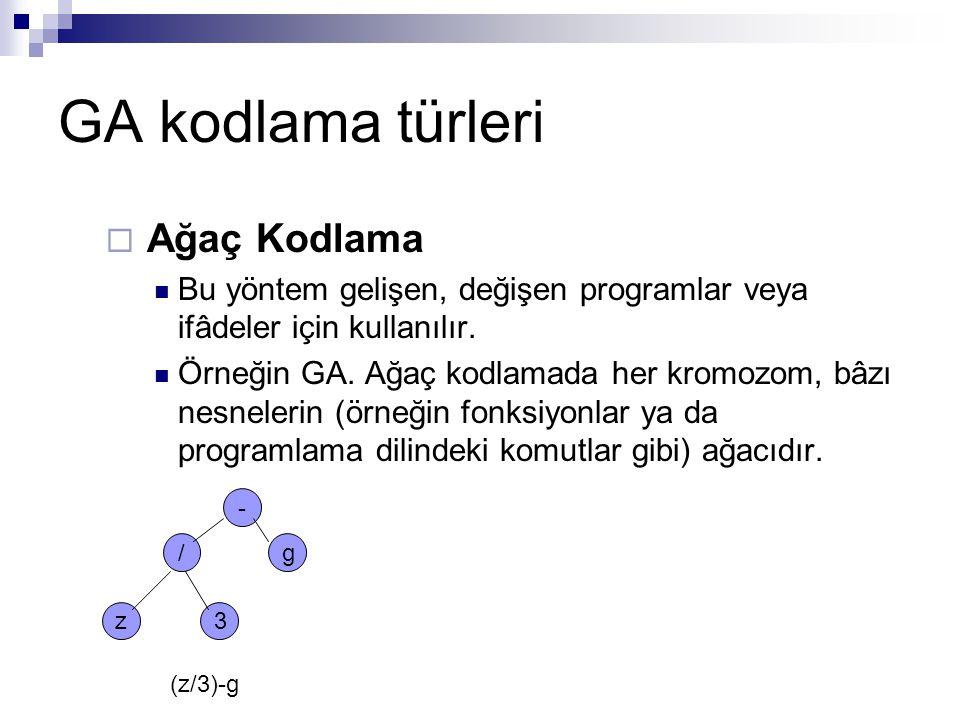 GA kodlama türleri  Ağaç Kodlama Bu yöntem gelişen, değişen programlar veya ifâdeler için kullanılır. Örneğin GA. Ağaç kodlamada her kromozom, bâzı n
