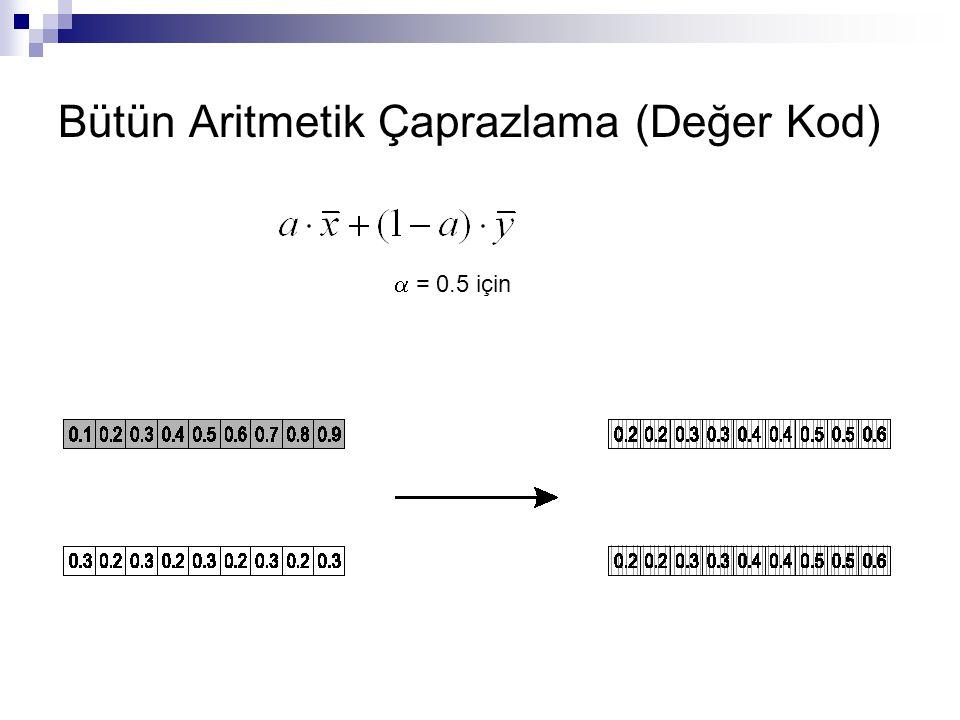 Bütün Aritmetik Çaprazlama (Değer Kod)  = 0.5 için