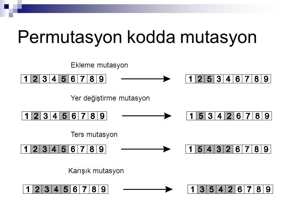 Permutasyon kodda mutasyon Ekleme mutasyon Yer değiştirme mutasyon Ters mutasyon Karışık mutasyon