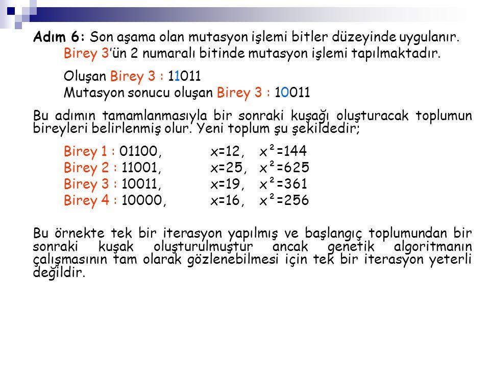 Adım 6: Son aşama olan mutasyon işlemi bitler düzeyinde uygulanır. Birey 3'ün 2 numaralı bitinde mutasyon işlemi tapılmaktadır. Oluşan Birey 3 : 11011