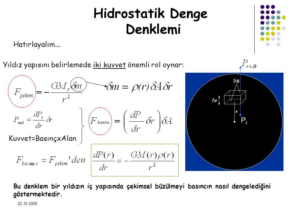 22.10.2009 Hidrostatik Denge Denklemi Hatırlayalım... Yıldız yapısını belirlemede iki kuvvet önemli rol oynar: Bu denklem bir yıldızın iç yapısında çe