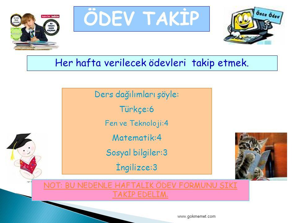 www.gokmemet.com ÖDEV TAKİP Her hafta verilecek ödevleri takip etmek. Ders dağılımları şöyle: Türkçe:6 Fen ve Teknoloji:4 Matematik:4 Sosyal bilgiler: