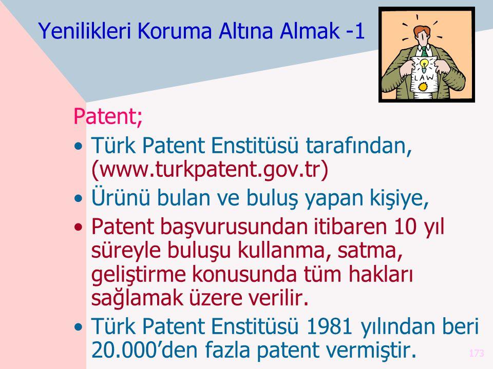 173 Yenilikleri Koruma Altına Almak -1 Patent; Türk Patent Enstitüsü tarafından, (www.turkpatent.gov.tr) Ürünü bulan ve buluş yapan kişiye, Patent başvurusundan itibaren 10 yıl süreyle buluşu kullanma, satma, geliştirme konusunda tüm hakları sağlamak üzere verilir.