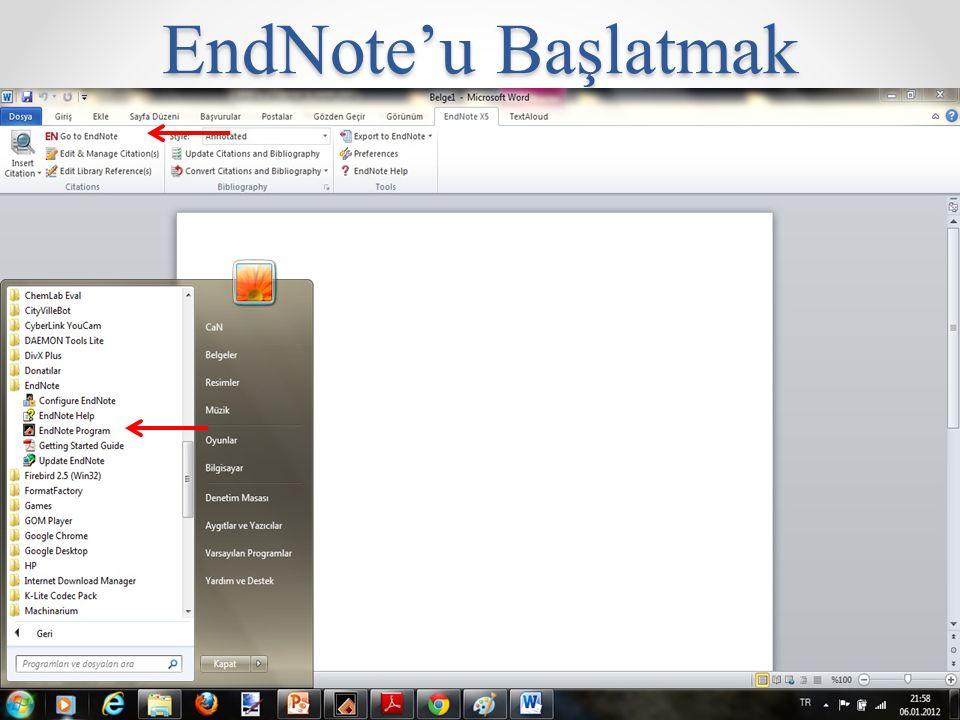 EndNote'u Başlatmak