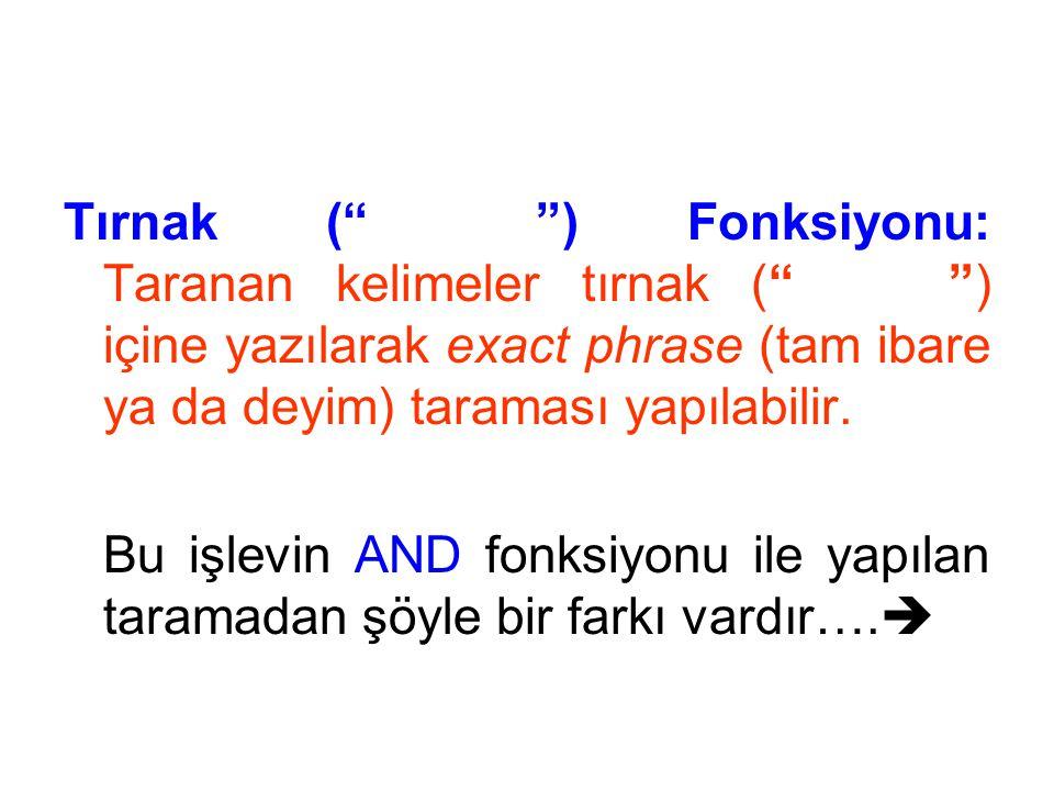 """Tırnak (""""………."""") Fonksiyonu: Taranan kelimeler tırnak (""""………"""") içine yazılarak exact phrase (tam ibare ya da deyim) taraması yapılabilir. Bu işlevin AND"""