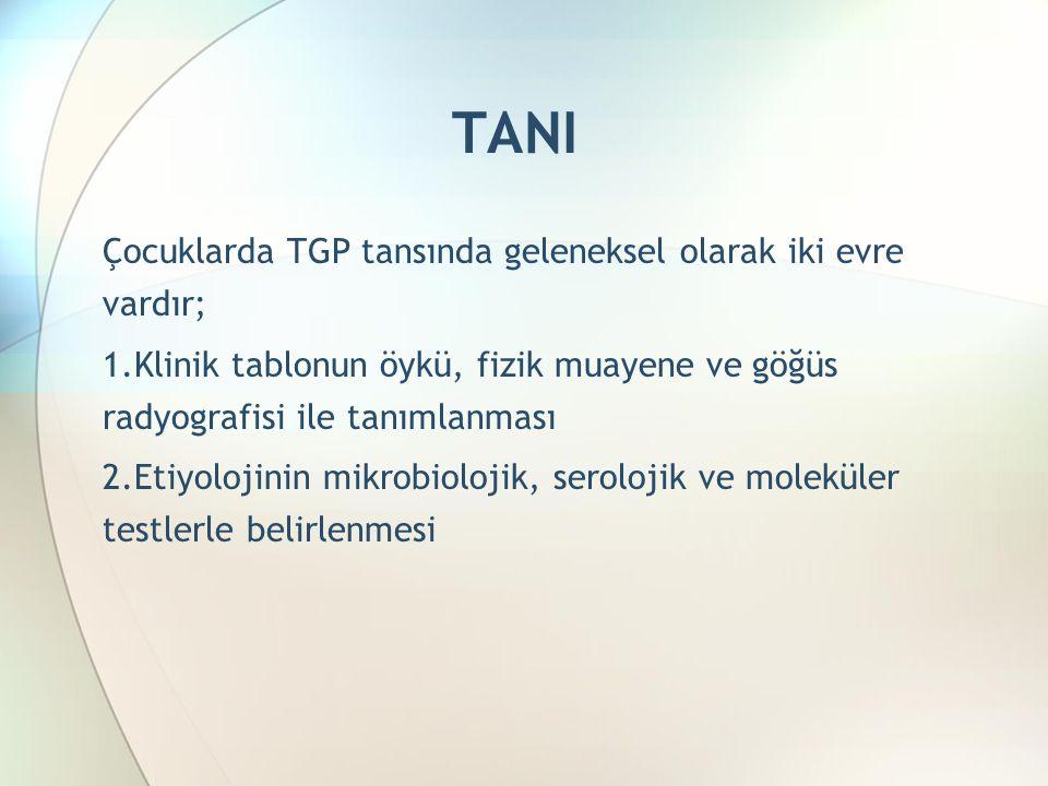 TANI Çocuklarda TGP tansında geleneksel olarak iki evre vardır; 1.Klinik tablonun öykü, fizik muayene ve göğüs radyografisi ile tanımlanması 2.Etiyolojinin mikrobiolojik, serolojik ve moleküler testlerle belirlenmesi