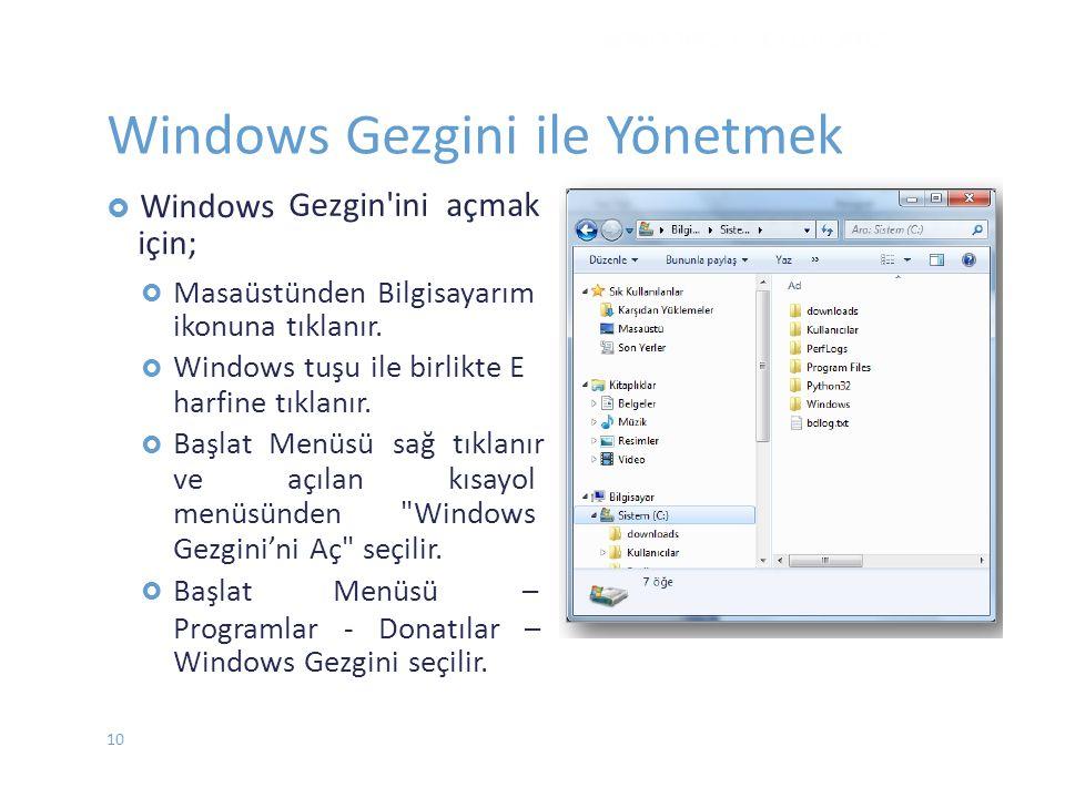 Gezgin'ini açmak  Windows için;  Masaüstünden Bilgisayarım ikonuna tıklanır. Windows tuşu ile birlikte E harfine tıklanır. Başlat Menüsü sağ tı