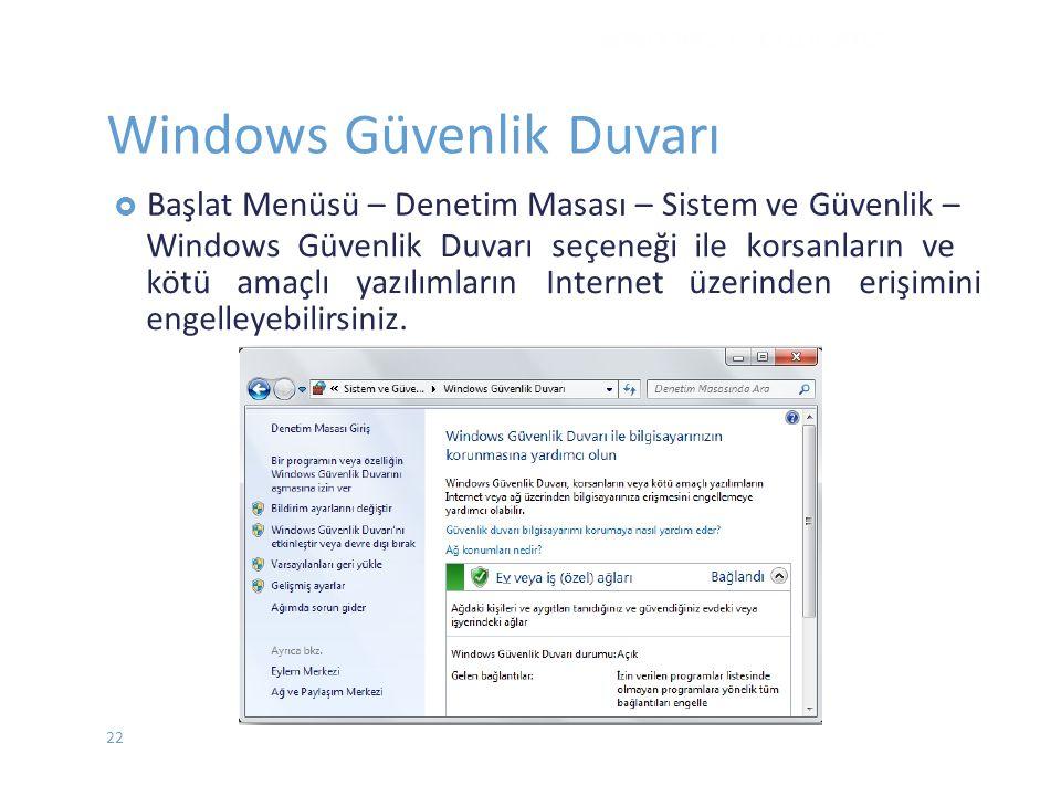  BaşlatMenüsü – Denetim Masası – Sistem ve Güvenlik – Windows Güvenlik Duvarı seçeneği ile korsanların ve kötü amaçlı yazılımların Internet üzerinden
