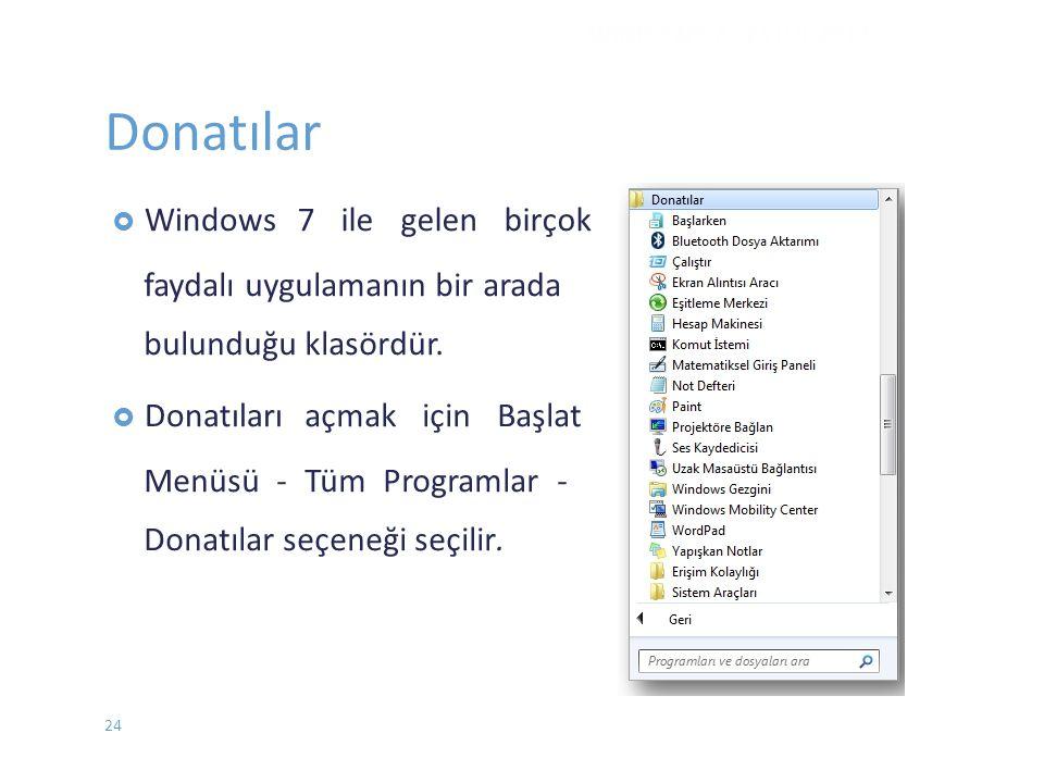 Donatılar  Windows7 ile gelen birçok faydalı uygulamanın bir arada bulunduğu klasördür.  Donatılarıaçmak için Başlat Menüsü - Tüm Programlar - Donat