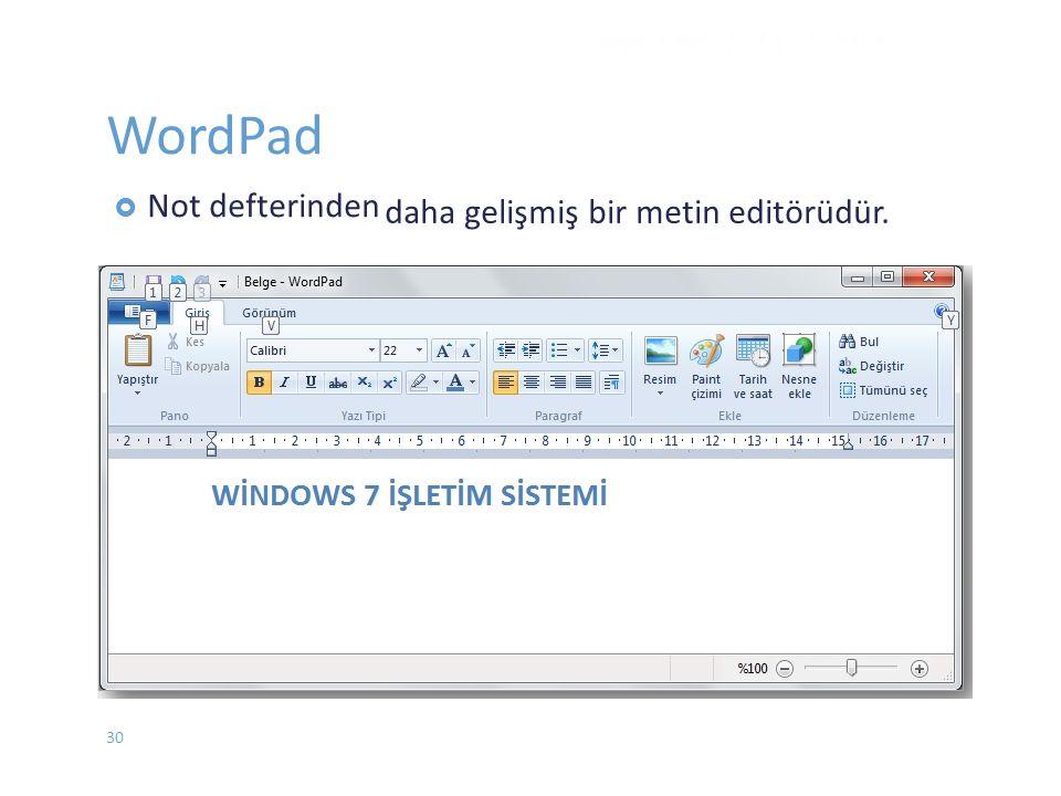 WordPad  Not defterinden WINDOWS 7 - EYLÜL 2012 daha gelişmiş bir metin editörüdür. 30