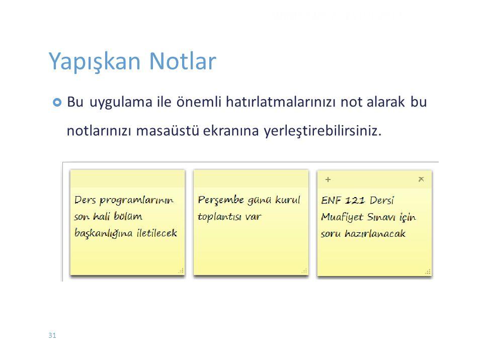 Yapışkan Notlar  Buuygulama ile önemli hatırlatmalarınızı not alarak bu notlarınızı masaüstü ekranına yerleştirebilirsiniz. WINDOWS 7 - EYLÜL 2012 31
