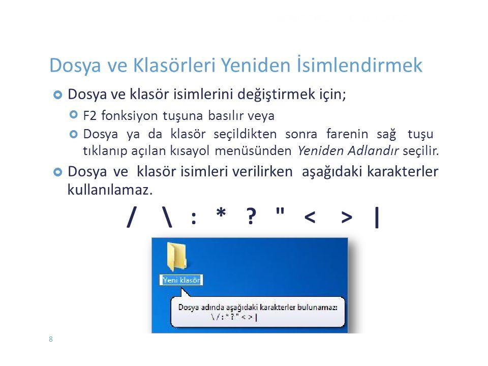  Dosya veklasör isimlerini değiştirmek için;  F2 fonksiyon tuşuna basılır veya Dosya ya da klasör seçildikten sonra farenin sağ tuşu tıklanıp açı