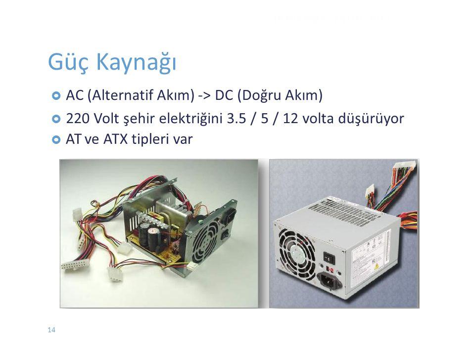  ATve ATX tipleri var DONANIM - EYLÜL 2012 Güç Kaynağı  AC (Alternatif Akım) -> DC (Doğru Akım)  220 Volt şehir elektriğini 3.5 / 5 / 12 volta düşü