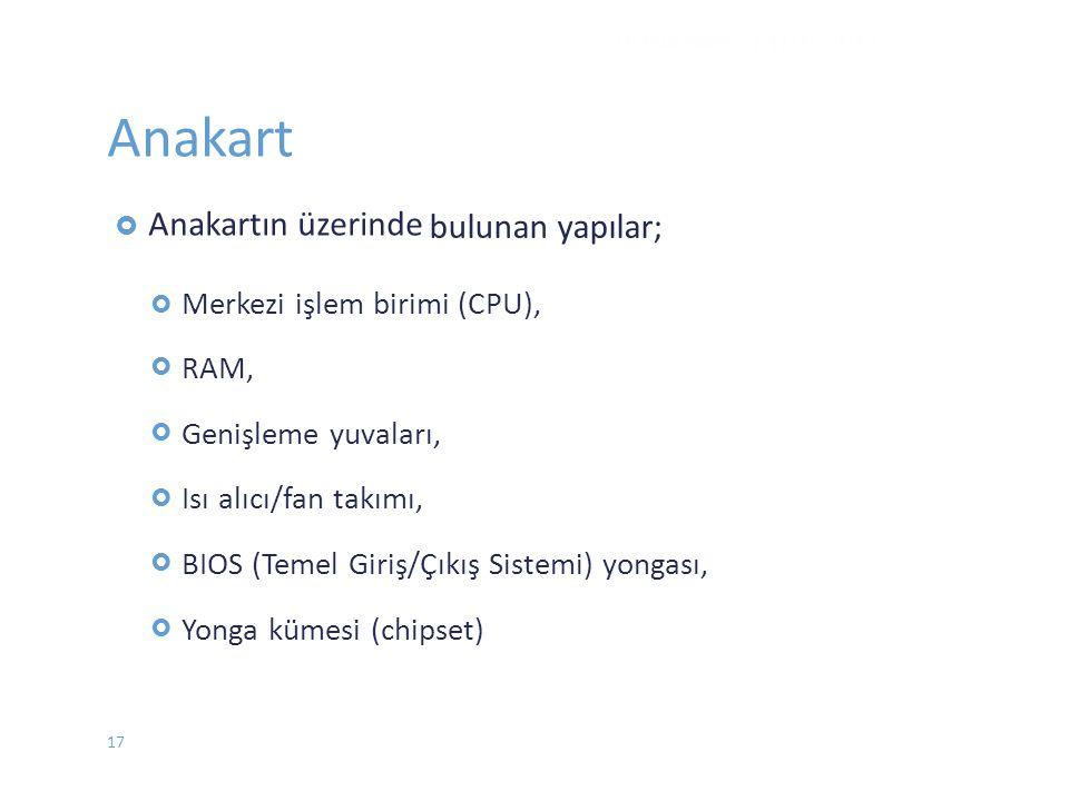 Anakart  Anakartın üzerinde  Merkezi işlem birimi (CPU), RAM, Genişleme yuvaları, Isı alıcı/fan takımı, BIOS (Temel Giriş/Çıkış Sistemi)