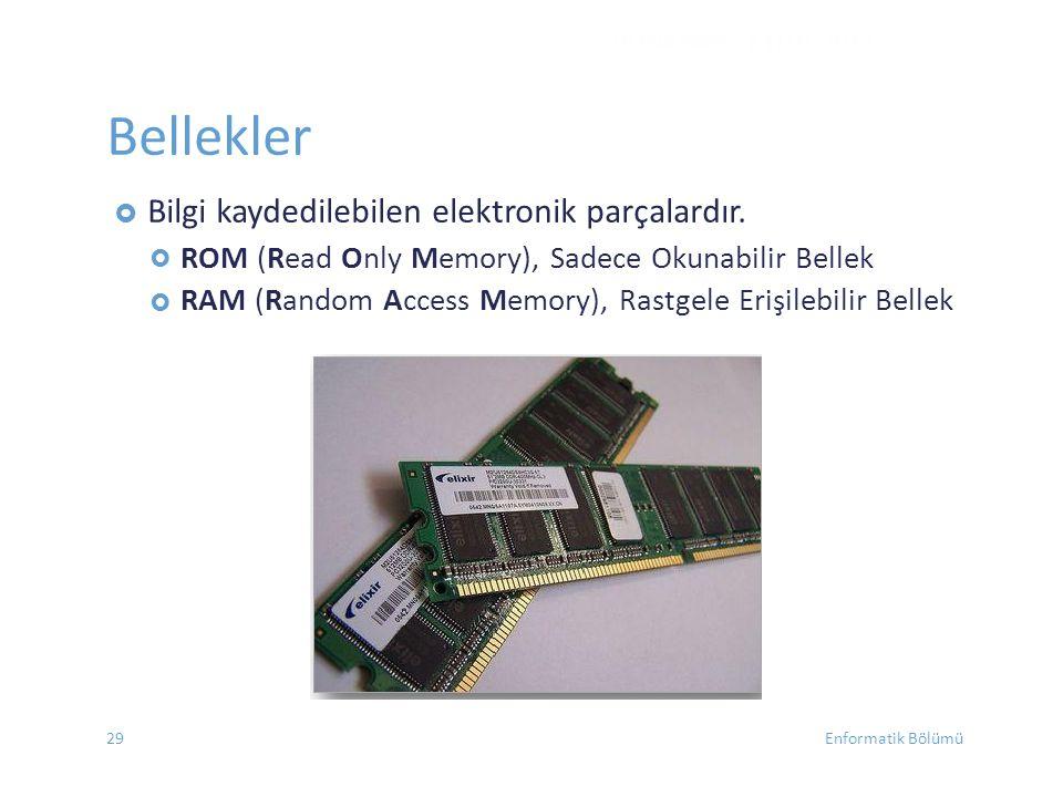  ROM (Read Only Memory), Sadece Okunabilir Bellek RAM (Random Access Memory), Rastgele Erişilebilir Bellek DONANIM - EYLÜL 2012 Bellekler  Bilgi